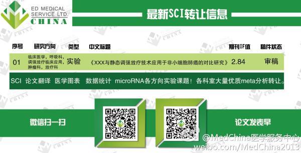 @MedChina医学服务中心微博贴出的最新SCI转让信息