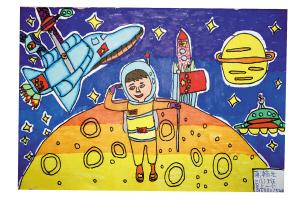 作品名称:《飞向太空的滑板车》