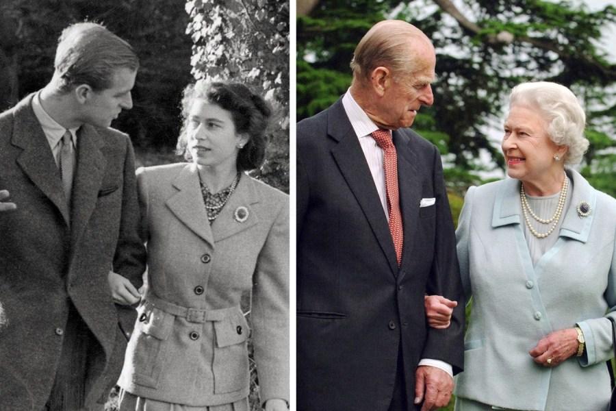 左图伊丽莎白二世(右)和菲利普亲王1947年11月在汉普郡布罗德兰兹庄园度蜜月时携手散步;右图:两人2007年在汉普郡布罗德兰兹庄园散步。