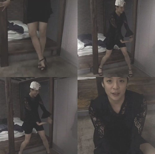 fx成员amber穿裙子高跟鞋跳舞害羞怕走光