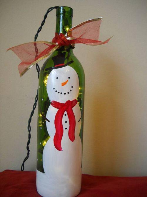39,手绘雪人红酒瓶