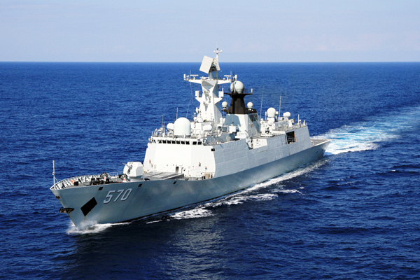 资料图:黄山舰舷号570是中国自行研制生产的新型导弹护卫舰。