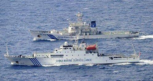 资料图:中日海警船在钓鱼岛海域对峙。