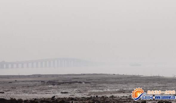 """昨日,从集美大桥北侧向南望去,厦门高崎机场完全""""消失""""在浓雾中。"""