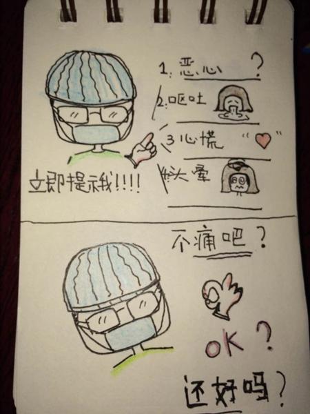 麻醉师姚翔给聋哑产妇画的漫画.