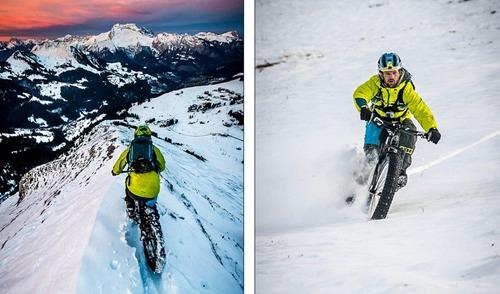 托马斯以极快的速度从雪山上骑行下来