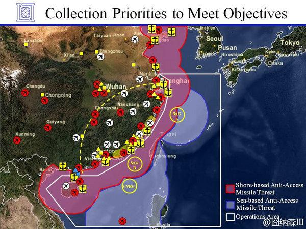 """原文配图:白线框内为""""作战区域"""",美军进入该区域就意味着要面对中国的""""区域拒止""""作战,图中还标出了中国路基和海基区域拒止导弹威胁的区域,即中国陆基反舰导弹射程和海基反舰导弹射程,注意这只是示意图。"""