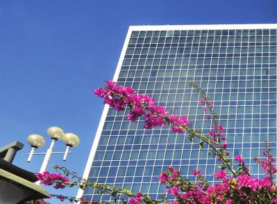 蓝天映在写字楼的窗户上