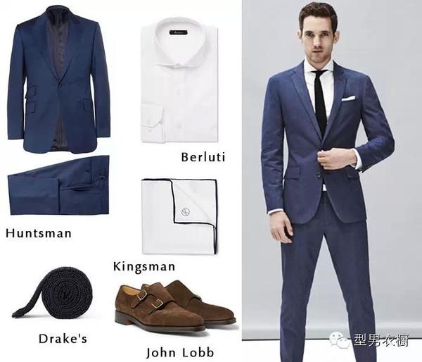 上班时间就应该严正以待,两粒/一粒单排扣西服最适合大部分亚洲人的体型,今天我们选用的是Huntsman的中蓝色两粒扣西服套装;柔和的冷色调看上去优雅轻松,搭配白衬衫和纯色领带就能很出色。针织领带最大的特色在于它凹凸不平的针织纹理,相对传统的绸缎款式看起来更加有亲和力,对想尽快融入职场的菜鸟来说最适合不过,哪怕是颜色比较的单一的装束,因为一条针织领带的加入,马上变的鲜活起来。   Tips:在穿着双扣僧侣鞋时,松开头排搭扣是时下最时髦的穿法,这样让让僧侣鞋看来不再那么刻板,走起路来也会更舒适。   N