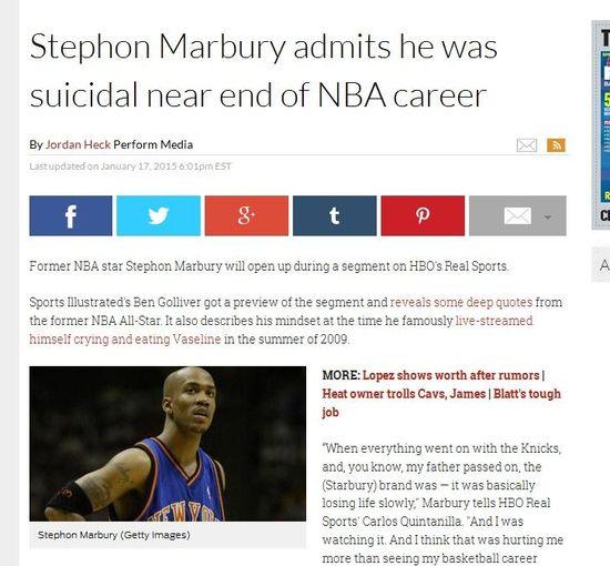 美媒截屏:马布里曾深陷抑郁想过自杀