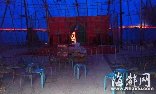 事发后,马戏团已停止表演,帐篷内一片昏暗
