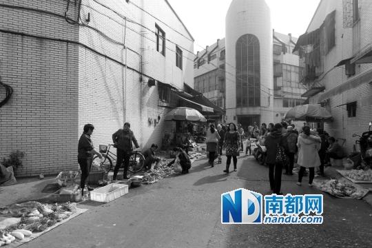 昨日早上,南都记者回访美平市场,有小贩占道经营。