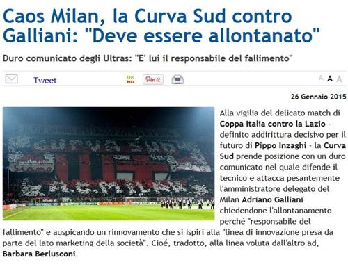 米兰球迷要求解雇加利亚尼