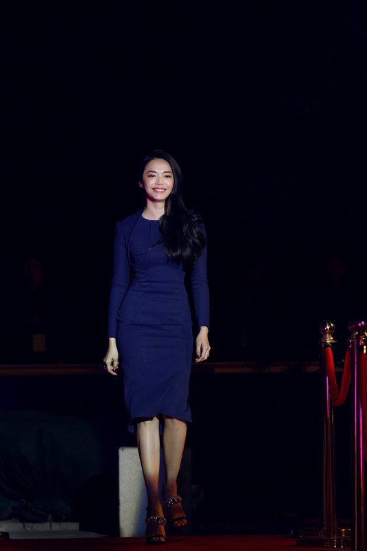 姚晨一袭深蓝色裙装自信大气