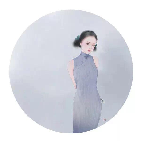 手绘旗袍背影图片