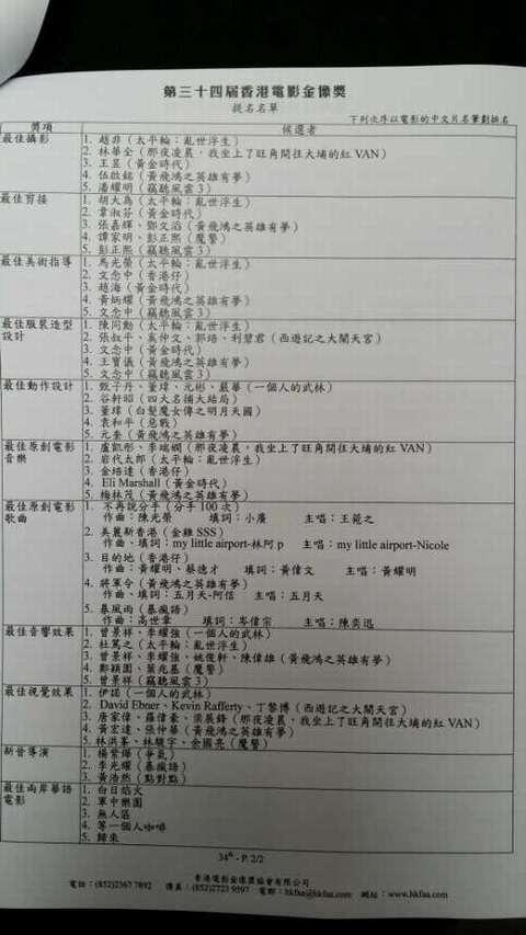 第34届香港金像奖提名公布(一)