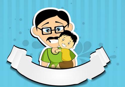 爸爸小孩卡通图片