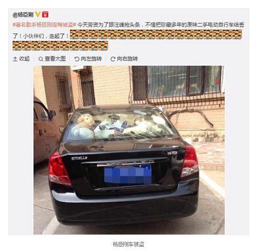 杨臣刚抢头条 发微博称爱车被盗