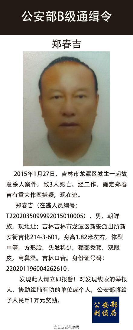 人民网北京2月9日电据公安部刑事侦查局官方微博消息,1月27日,吉林市龙潭区发生一起故意杀人案件,致3人死亡。经查,确定郑春吉有重大作案嫌疑,现在逃。