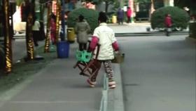 玲玲拿着擦鞋的工具和凳子准备回家。视频截图