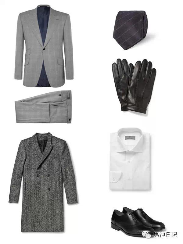 灰色浅格纹西装和灰色羊毛(或呢子)大衣构成整套搭配