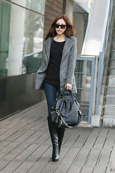 黑色长筒靴搭配_冬季呢大衣+短靴,巧搭配也能有大长腿,变成完美身材~-搜狐