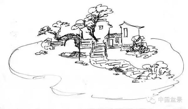 园林山水手绘线稿