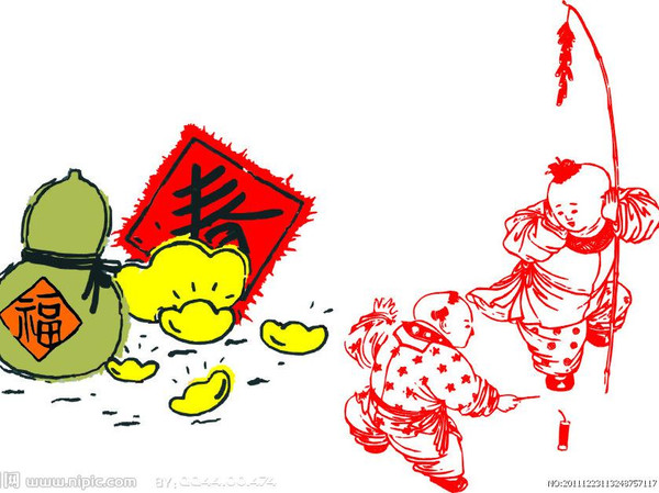新年小孩卡通图片