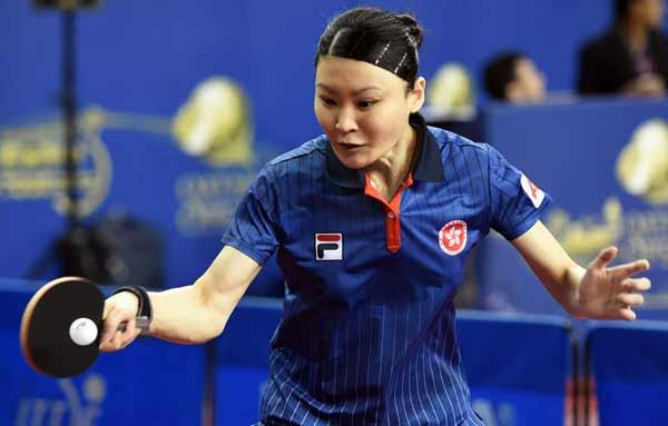 图文:乒乓球卡塔尔公开赛 姜华珺在比赛中