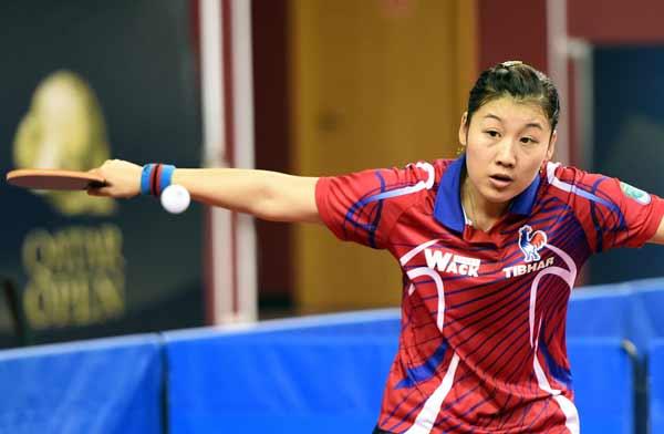 图文:乒乓球卡塔尔公开赛 李雪在比赛中