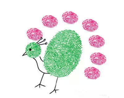 手指尖蘸色后在纸上点触,画出的是圆点形图样,适合画小花和人,动物的