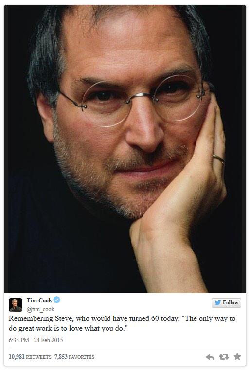 """库克在推特上发文称:""""怀念史蒂夫,今天是他的60诞辰纪念日。""""他补充道:""""成大事的唯一途径就是热爱你所做的事(The"""