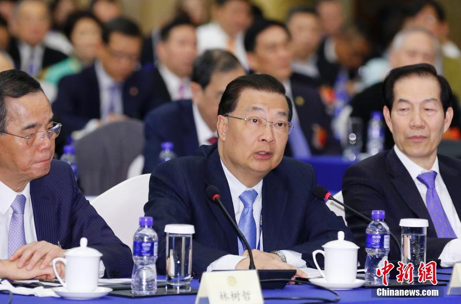 3月4日,谭耀宗在全国政协十二届三次会议港澳委员联组会上发言(图片来自中新网)