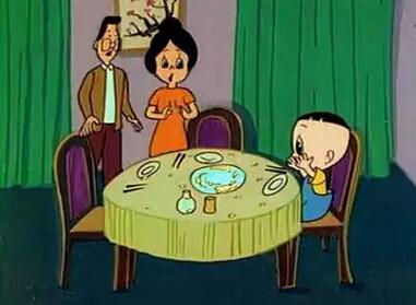 的午餐》一集,全家出去吃饭.由于三人分别对不同的菜过敏,连续换