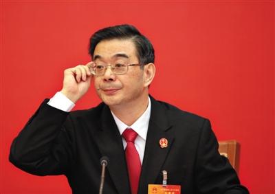 昨日下午,周强来到湖南团参加审议。 新京报记者 陈杰 摄