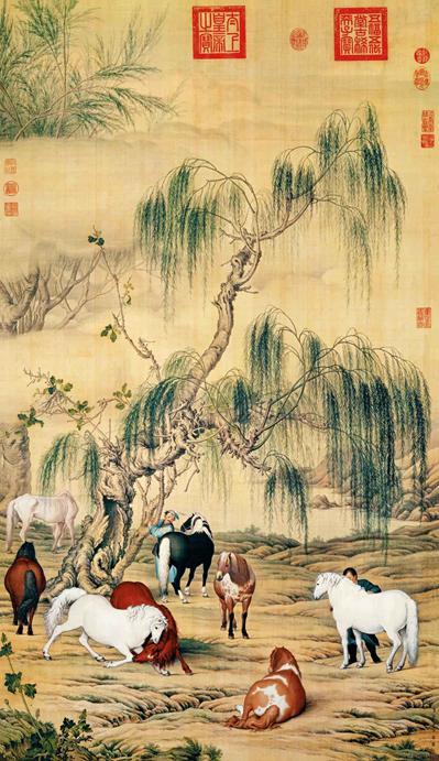 八骏图   锦春图 台北故宫博物院藏  里面附有很多介绍欧洲透视法的木