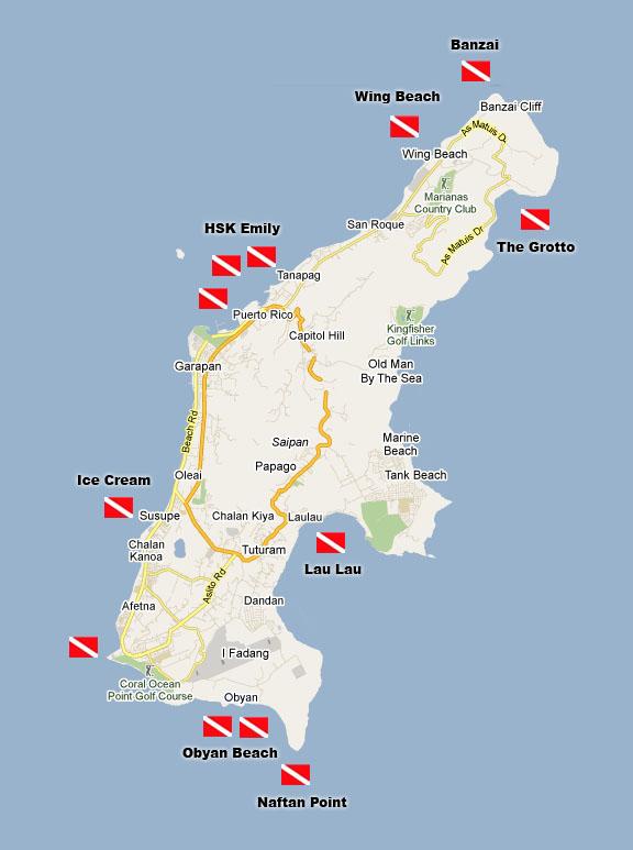 塞班岛潜点地图