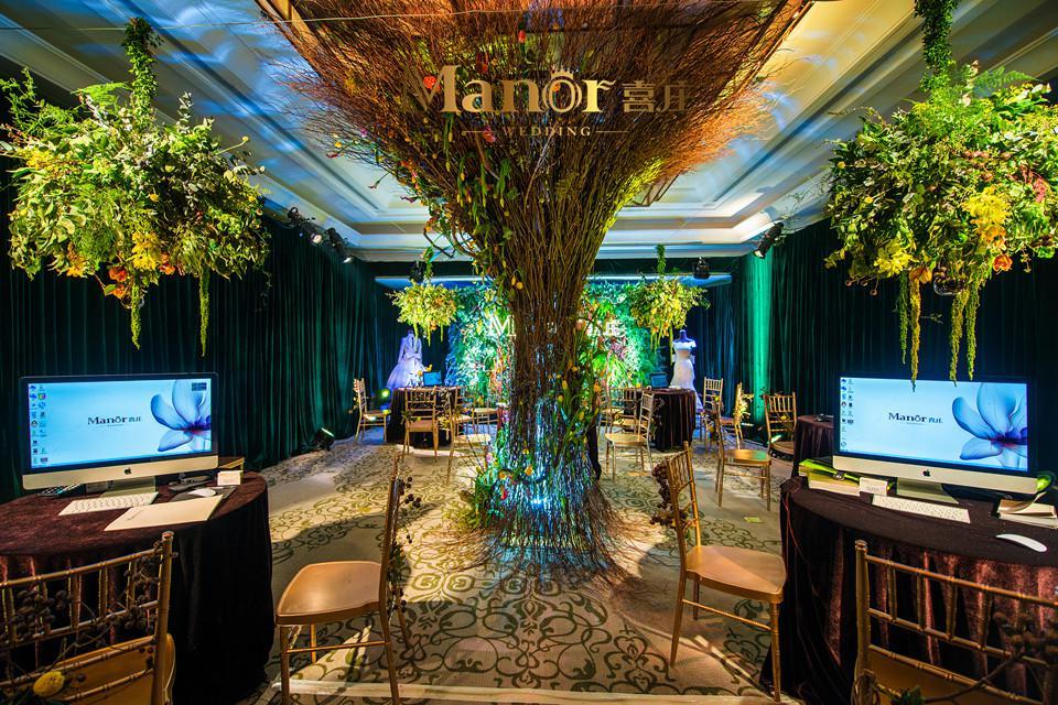 喜庄枝叶选择向上延伸的龙柳,围成树的婚庆,形状相连,演示生长与生机成都纷享广告设计有限公司图片