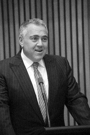 3月25日,乔・霍基在澳大利亚首都堪培拉国会大厦讲话 新华社发 钱军 摄