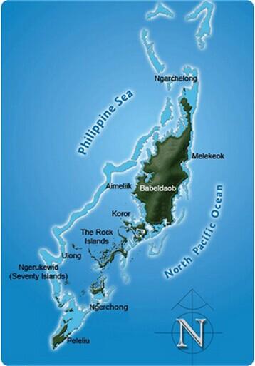 美国帕劳群岛地图
