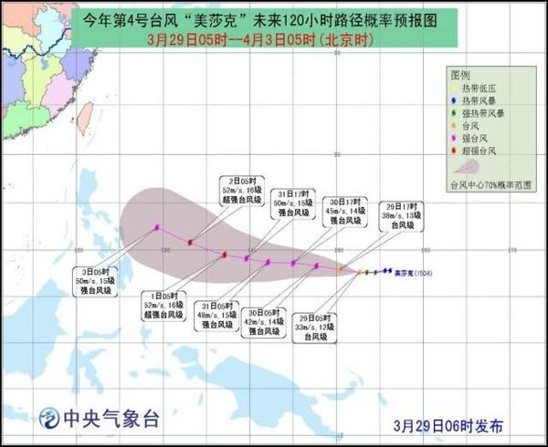 """台风蓝色预警信号""""梅萨克""""已经增强到强台风级别"""