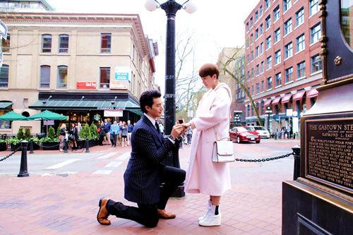 海清、锦荣在加拿大拍摄求婚戏份