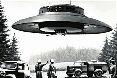 原文配图:早期纳粹研发碟形飞行器时的模拟画.
