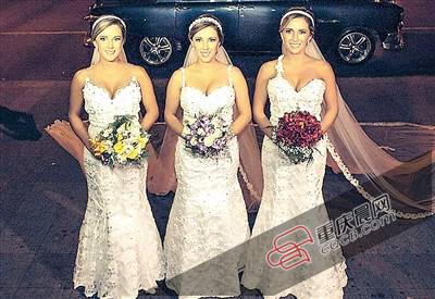 日前,来自巴西帕苏丰杜的比尼一家三胞胎姐妹举办了一场浩大的团体婚礼(上图),长相同样的她们衣着一样的婚纱军服,还做了一样的发型,连新郎都简直分不清谁是谁。