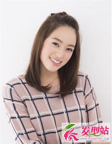 这款齐肩女生中长发发型把刘往后扎起来清爽又甜美,内扣的发尾更显图片