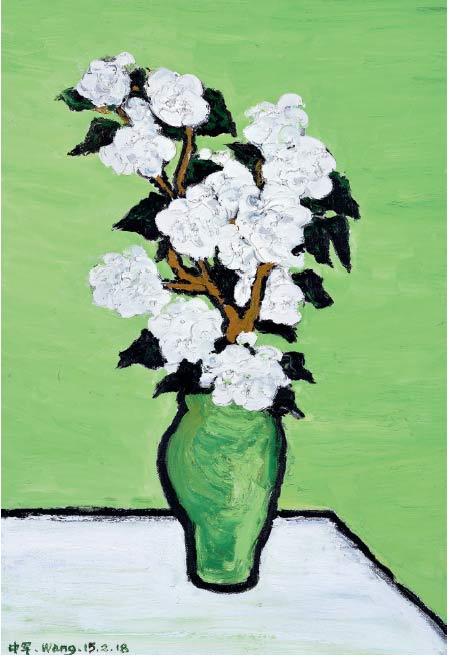 白色大茶花系列之二-布面油画