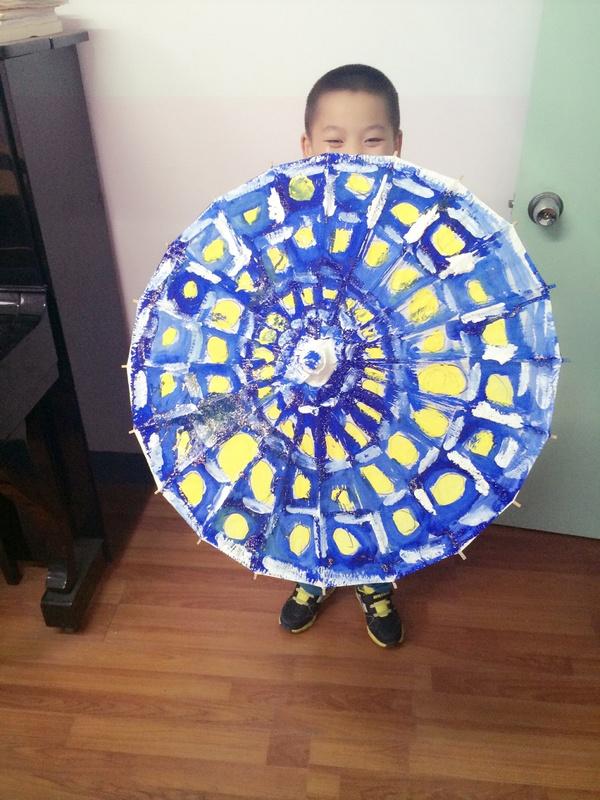 儿童美术雨伞手工制作