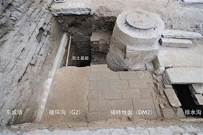 故宫南三所外西北电力井工地,考古发觉的城墙地基、排沟渠。