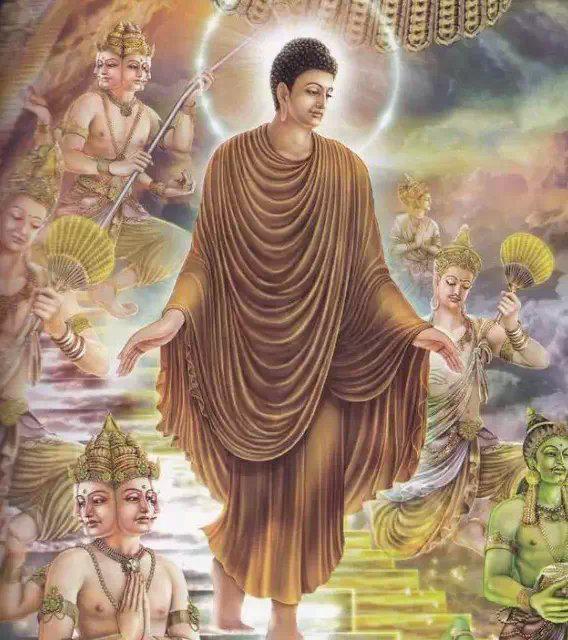 佛陀在天宫说法后,沿着天梯下返人间,众天神恭敬围绕.图片