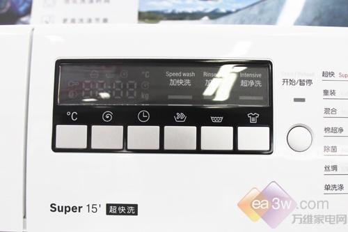 操作面板方面,博世WAE20262TI采用了按键与旋钮搭配的操作模式。在操作功能分布上,除了洗涤、漂洗、排水脱水功能旋钮以外,还加入了牛仔裤、运动装、童装功能,分类更加精细,也更加直接。